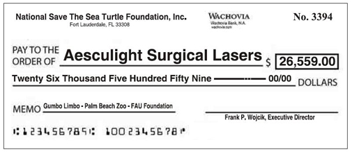 National Save the Sea Turtle Foundation donates over $26,000 for the Aesculight Surgical Laser, used to save the sick sea turtles.